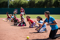 STANFORD, CA -- April 15, 2018. <br /> Softball clinic after the Stanford Cardinal women's softball team loss to the Oregon State Beavers at the Smith Family Stadium 12-1.