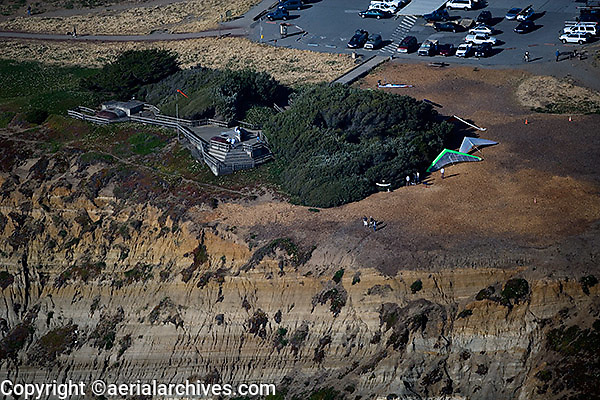 aerial view above hang gliding launch Fort Funston San Francisco California