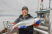 Commercial fisherman Bill Webber shows off a sockeye salmon during a 12 hour sockeye and king salmon opener on the Copper River Delta, southcentral, Alaska.
