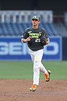 Blake Rutherford (25) of the West team returns to the dugout from the outfield during the 2015 Perfect Game All-American Classic at Petco Park on August 16, 2015 in San Diego, California. The East squad defeated the West, 3-1. (Larry Goren/Four Seam Images)