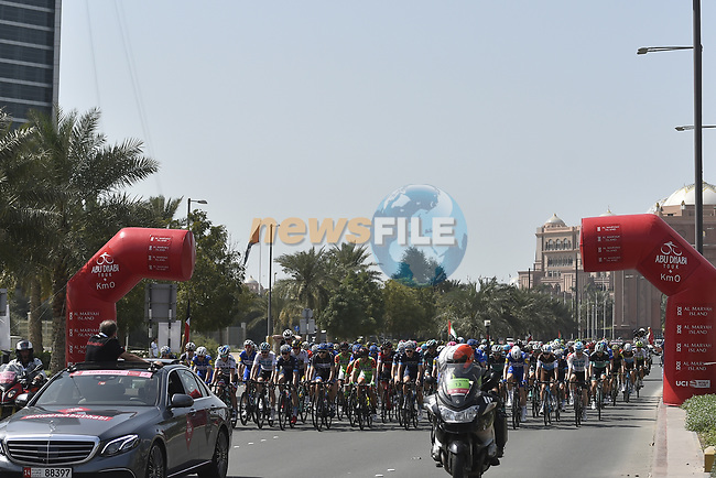 Km0 the start of Stage 3 of the 2018 Abu Dhabi Tour, Nation Towers Stage running 133km from Nation Towers to Big Flag, Abu Dhabi, United Arab Emirates. 23rd February 2018.<br /> Picture: LaPresse/Fabio Ferrari | Cyclefile<br /> <br /> <br /> All photos usage must carry mandatory copyright credit (© Cyclefile | LaPresse/Fabio Ferrari)