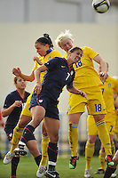 US defender and team captain, Shannon Boxx, wins a header against Sweden in Ferreiras, Portugal during the 2010 Algarve Cup on March 1, 2010.