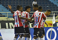 BARRANQUIILLA - COLOMBIA, 23-01-2019: Jugadores del Atlético Junior celebran después de anotar un gol a Deportes Tolima durante partido de ida por la Súper Liga Águila 2019 jugado en el estadio Metropolitano Roberto Melendez de la ciudad de Barranquilla. / Players of Atletico Junior celebrate after scoring a goal to Deportes Tolima during first leg match of the Aguila Super League 2019 played at Metropolitano Roberto Melendez stadium in Barranquilla city.  Photo: VizzorImage / Cristian Alvarez / Cont