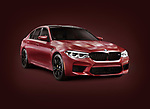 Sixth-generation BMW M5, 2018 performance car, luxury sport sedan, 5-series in dark red matte color. Isolated with a clipping path on burgundy background. Image © MaximImages, License at https://www.maximimages.com