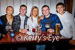 Enjoying the evening in Teach Beag on Saturday, l to r: Kim Sugrue, Brendáin O'Neill, Amy O'Sullivan, Adam Kerins and Bradley Lynch