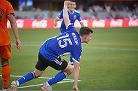 SAN JOSE, CA - JULY 24: Tanner Beason #15 of the San Jose Earthquakes celebrates a goal during a game between Houston Dynamo and San Jose Earthquakes at PayPal Park on July 24, 2021 in San Jose, California.
