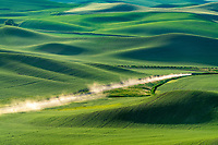 The Palouse is a fertile farming region in southeast Washington and parts of western Idaho. The gentle rolling hills change from verdant green to brown as the seasons change. Dust is kicked up by the working locals.