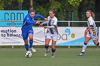 Lorene Martin (6) of KRC Genk and Alysson Duterne (14) of Sporting Charleroi pictured during a female soccer game between Sporting Charleroi and Eendracht Aalst on the 8th matchday in play off 2 of the 2020 - 2021 season of Belgian Scooore Womens Super League , tuesday 18 th of May 2021 in Marcinelle , Belgium . PHOTO SPORTPIX.BE | SPP | STIJN AUDOOREN