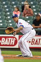 Round Rock Express first baseman Kyle Blanks (35) on defense during Pacific Coast League game against the Memphis Redbirds on April 21, 2015 at the Dell Diamond in Round Rock, Texas. Round Rock defeated Memphis 2-1. (Andrew Woolley/Four Seam Images)