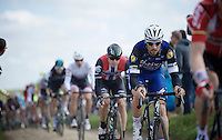 Tom Boonen (BEL/Etixx-QuickStep) on the very first cobble sector of the day: sector 27: Troisvilles to Inchy (2.2km)<br /> <br /> 114th Paris-Roubaix 2016