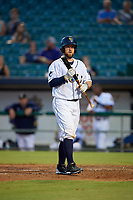 New Orleans Baby Cakes Bryan Holaday (28) at bat during a Pacific Coast League game against the Oklahoma City Dodgers on May 6, 2019 at Shrine on Airline in New Orleans, Louisiana.  New Orleans defeated Oklahoma City 4-0.  (Mike Janes/Four Seam Images)