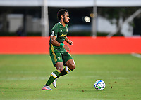 LAKE BUENA VISTA, FL - JULY 18: Jeremy Ebobisse #17 of the Portland Timbers dribbles the ball during a game between Houston Dynamo and Portland Timbers at ESPN Wide World of Sports on July 18, 2020 in Lake Buena Vista, Florida.