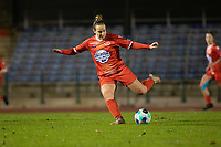 Celine Verdonck (27) of Femina White Star Woluwe pictured during a female soccer game between FC Femina White Star Woluwe and Eendracht Aalst on the sixth matchday in the 2021 - 2022 season of Belgian Scooore Womens Super League , friday 8 th of october 2021  in Woluwe , Belgium . PHOTO SPORTPIX | KRISTOF DE MOOR