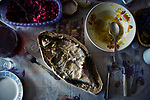 A traditional nothern dish ribnik . Many who live in Kenozerto are thankful just for small mercies such as enough food
