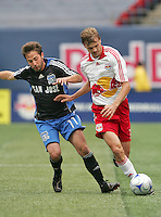New York Red Bulls' Dave van den Bergh, right, keeps the ball from San Jose Earthquakes' Ned Grabavoy (11) in the first half of an MLS soccer match at Giants Stadium in East Rutherford, N.J. on Sunday, April 27, 2008. The Red Bulls defeated the Earthquakes 2-0.