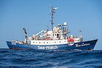 Sea Watch-2.<br /> Die Sea Watch-2 ist zu ihrer 13. SAR-Mission vor der libyschen Kueste.<br /> Im Bild: <br /> 18.10.2016, Mediterranean Sea<br /> Copyright: Christian-Ditsch.de<br /> [Inhaltsveraendernde Manipulation des Fotos nur nach ausdruecklicher Genehmigung des Fotografen. Vereinbarungen ueber Abtretung von Persoenlichkeitsrechten/Model Release der abgebildeten Person/Personen liegen nicht vor. NO MODEL RELEASE! Nur fuer Redaktionelle Zwecke. Don't publish without copyright Christian-Ditsch.de, Veroeffentlichung nur mit Fotografennennung, sowie gegen Honorar, MwSt. und Beleg. Konto: I N G - D i B a, IBAN DE58500105175400192269, BIC INGDDEFFXXX, Kontakt: post@christian-ditsch.de<br /> Bei der Bearbeitung der Dateiinformationen darf die Urheberkennzeichnung in den EXIF- und  IPTC-Daten nicht entfernt werden, diese sind in digitalen Medien nach §95c UrhG rechtlich geschuetzt. Der Urhebervermerk wird gemaess §13 UrhG verlangt.]