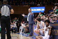 DUKE, NC - FEBRUARY 15: Head coach Mike Brey of the University of Notre Dame questions a call during a game between Notre Dame and Duke at Cameron Indoor Stadium on February 15, 2020 in Duke, North Carolina.