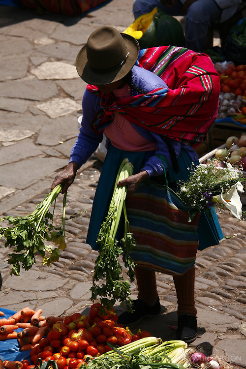 A Peruvian woman examines the fruits and vegetables at a stall in the Pisac market.