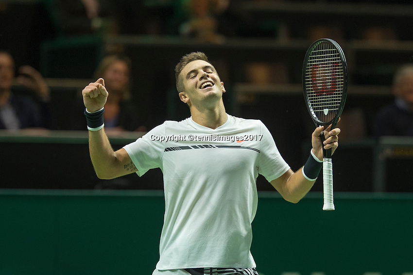 ABN AMRO World Tennis Tournament, Rotterdam, The Netherlands, 14 februari, 2017, Borna Coric (CRO) wins and celebrates<br /> Photo: Henk Koster