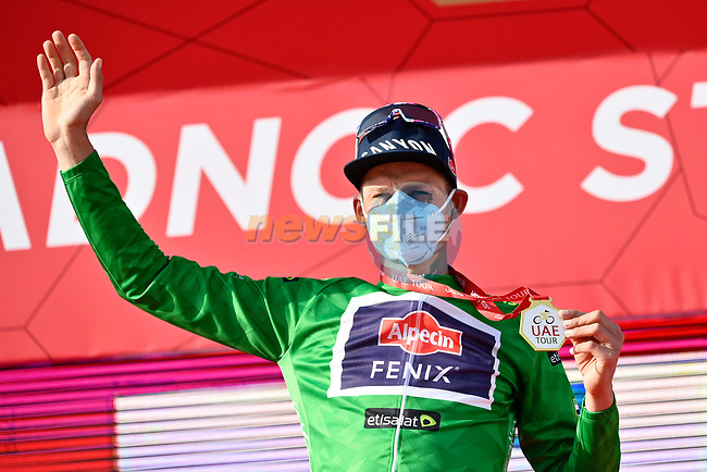 Mathieu van der Poel (NED) Alpecin-Fenix wins Stage 1 and also wears the first points Green Jersey of the 2021 UAE Tour the ADNOC Stage running 176km from Al Dhafra Castle to Al Mirfa, Abu Dhabi, UAE. 21st February 2021.  <br /> Picture: LaPresse/Fabio Ferrari   Cyclefile<br /> <br /> All photos usage must carry mandatory copyright credit (© Cyclefile   LaPresse/Fabio Ferrari)