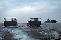 "- Italian Navy, landing crafts go away from the amphibious assault ship ""S.Giorgio""....- Marina militare italiana, mezzi da sbarco si allontanano dalla nave da assalto anfibio ""S.Giorgio"""