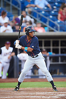 Bowing Green Hot Rods center fielder Angel Moreno (18) at bat during a game against the Quad Cities River Bandits on July 24, 2016 at Modern Woodmen Park in Davenport, Iowa.  Quad Cities defeated Bowling Green 6-5.  (Mike Janes/Four Seam Images)