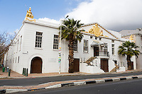 South Africa, Cape Town.  Old Granary, or Customs House.  Built 1812, enlarged 1814.  Statues of Neptune and Britannia, by Anton Anreith, on opposite corners of building.
