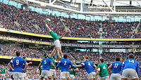 Sunday10th March 2019 | Ireland vs France<br /> <br /> A finger tip take by Peter O'Mahony during the Guinness 6 Nations clash between Ireland and France at the Aviva Stadium, Lansdowne Road, Dublin, Ireland. Photo by John Dickson / DICKSONDIGITAL