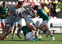 5th June 2021; Brentford Community Stadium, London, England; Gallagher Premiership Rugby, London Irish versus Wasps; James Stokes of London Irish tackles Sione Vailanu of Wasps