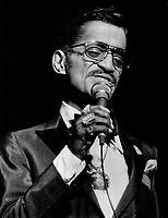 The quintessential Sammy Davis Jr., has massive rings on every finger, and at 61, he still performs,  1986<br /> <br /> <br /> PHOTO :  Griffin, Doug