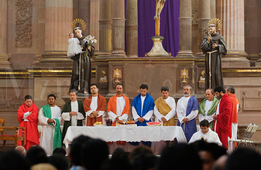 PRIEST & the 12 Apostles during Easter Service in TEMPLO DE SAN FRANCISCO - SAN MIGUEL DE ALLENDE, MEXICO ...