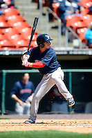 Pawtucket Red Sox second baseman Jonathan Diaz #2 during the first game of a doubleheader against the Buffalo Bisons on April 25, 2013 at Coca-Cola Field in Buffalo, New York.  Pawtucket defeated Buffalo 8-3.  (Mike Janes/Four Seam Images)