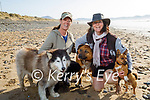 Enjoying a stroll on Banna beach on Tuesday, l to r: Bernie and Mags Slattery with Mia, Duffy and Sammy the dogs.
