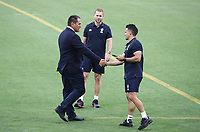 7th November 2020, Brisbane, Australia; Tri Nations International rugby union, Australia versus New Zealand;  Wallabies Coach Dave Rennie shakes hands