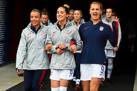 Houston, TX - Sunday April 8, 2018: Mallory Pugh, Morgan Brian, Lindsey Horan during an International friendly match versus the women's National teams of the United States (USA) and Mexico (MEX) at BBVA Compass Stadium.