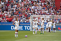 LYON, FRANCE - JULY 07: Alex Morgan during a game between Netherlands and USWNT at Stade de Lyon on July 07, 2019 in Lyon, France.