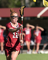 NEWTON, MA - MAY 14: Belle Mastropietro #12 of Temple University passes the ball during NCAA Division I Women's Lacrosse Tournament first round game between University of Massachusetts and Temple University at Newton Campus Lacrosse Field on May 14, 2021 in Newton, Massachusetts.