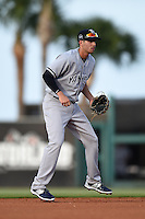 Tampa Yankees shortstop Tyler Wade (17) during a game against the Lakeland Flying Tigers on April 9, 2015 at Joker Marchant Stadium in Lakeland, Florida.  Tampa defeated Lakeland 2-0.  (Mike Janes/Four Seam Images)