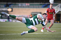 20th February 2021; Trailfinders Sports Club, London, England; Trailfinders Challenge Cup Rugby, Ealing Trailfinders versus Doncaster Knights; Steven Shingler of Ealing Trailfinders dives in to score a try