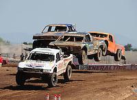 Apr 17, 2011; Surprise, AZ USA; LOORRS driver Carl Renezeder (17) leads Rick Huseman (36) during round 4 at Speedworld Off Road Park. Mandatory Credit: Mark J. Rebilas-