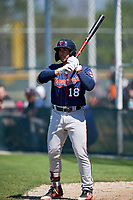Minnesota Twins Charles Mack (18) during a Minor League Spring Training game against the Baltimore Orioles on March 25, 2019 at the Buck O'Neil Baseball Complex in Sarasota, Florida.  (Mike Janes/Four Seam Images)