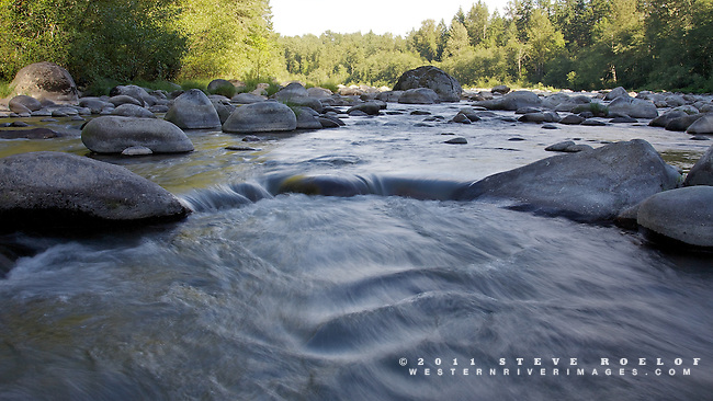The Sandy River pours through boulders on a summer day.