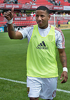 29 June 2013: Real Salt Lake forward Joao Plata #8 acknowledges the crowd during an MLS game between Real Salt Lake and Toronto FC at BMO Field in Toronto, Ontario Canada.<br /> Real Salt Lake won 1-0.
