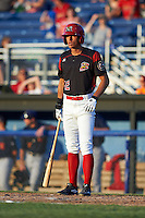 Batavia Muckdogs center fielder Corey Bird (12) at bat during a game against the State College Spikes on June 24, 2016 at Dwyer Stadium in Batavia, New York.  State College defeated Batavia 10-3.  (Mike Janes/Four Seam Images)