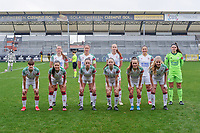 team picture OHL ( Hannah Eurlings (9) of OHL , Lenie Onzia (8) of OHL , Sari Kees (2) of OHL , Sara Yuceil (13) of OHL , Goalkeeper Louise Van Den Bergh (1) of OHL and <br /> Zenia Mertens (6) of OHL , Luna Vanzeir (10) of OHL , Jill Janssens (7) of OHL , Estee Cattoor (11) of OHL , Marith De Bondt (31) of OHL , Tess Lameir (18) of OHL ) pictured before a female soccer game between Eendracht Aalst and OHL on the 13 th matchday of the 2020 - 2021 season of Belgian Scooore Womens Super League , Saturday 6 th of February 2021  in Aalst , Belgium . PHOTO SPORTPIX.BE   SPP   STIJN AUDOOREN