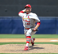 May 23, 2010 Pitcher Matthew Frevert of the Palm Beach Cardinals, Florida State League Class-A affiliate of the St.Louis Cardinals, delivers a pitch during a game at George M. Steinbrenner Field in Tampa, FL. Photo by: Mark LoMoglio/Four Seam Images