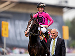 MAY 18: Tyler Gaffalione  and War  of Will are lead by Marc Casse after he wins the 144th running of the Preakness Stakes on War at Pimlico Racecourse in Baltimore, Maryland on May 18, 2019. Evers/Eclipse Sportswire/CSM