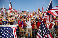 Columbus, Ohio - Tuesday, September 11, 2012: The USA defeated Jamaica 1-0 in the first round of World Cup Qualifying at Columbus Crew Stadium. Frankie Hejduk  celebrates with USA fans.