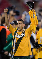 Hercules Gomez celebrates. The Los Angeles Galaxy defeated the New England Revolution 1-0 in overtime at Pizza Hut Park in Frisco, Texas, Sunday, November 13, 2005.