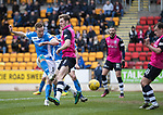 St Johnstone v Dundee…11.03.17     SPFL    McDiarmid Park<br />Steven MacLean's shot is saved by Scott Bain<br />Picture by Graeme Hart.<br />Copyright Perthshire Picture Agency<br />Tel: 01738 623350  Mobile: 07990 594431